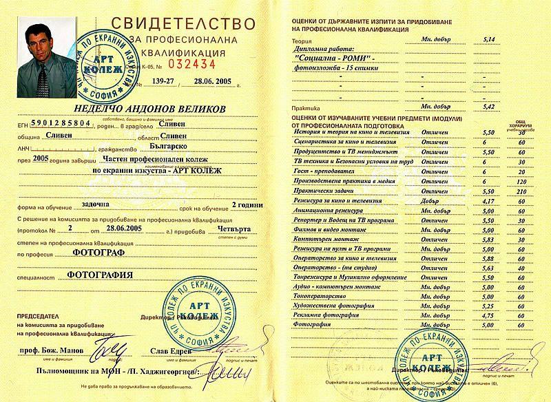 Свидетелство за професионална квалификация Фотограф - фотография